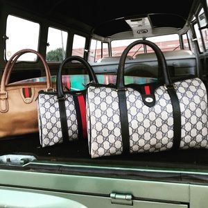 Gucci Leather Web Boston Bag